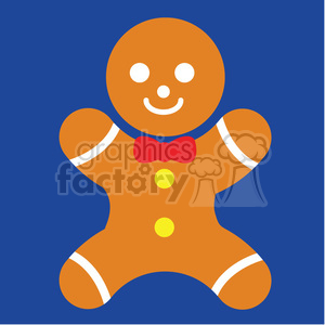 gingerbread man on blue square icon vector art clipart. Royalty-free image # 400501
