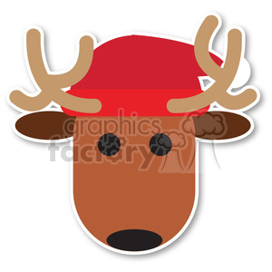 reindeer with santa hat icon vector art clipart. Commercial use image # 400531