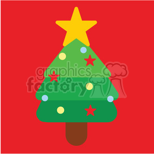 christmas tree on a red square icon vector art clipart. Commercial use image # 400541