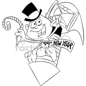 black and white baby new year holding an hourglass vector art clipart. Commercial use image # 400561