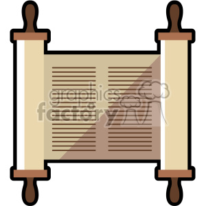 jewish torah scroll flat vector art icon no background clipart. Royalty-free image # 400581