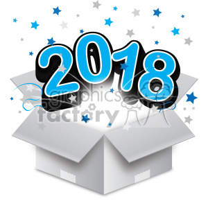 blue 2018 new year exploding from a box vector art clipart. Royalty-free image # 400601