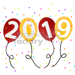 2019 new year party balloons vector art clipart. Royalty-free image # 400611