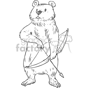 illustration outline black+white bear archer bow+arrow hunter hunting