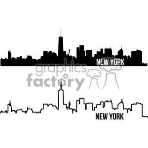 new york city skyline vector art outline and fill clipart. Royalty-free image # 402330