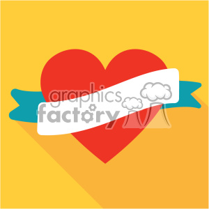 heart with ribbon vector art flat design clipart. Commercial use image # 402378