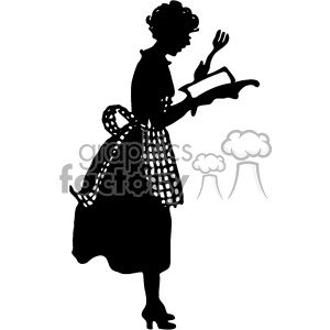 vintage silhouette of wife cooking from a cookbook vector vintage 1900 vector art GF clipart. Commercial use image # 402508