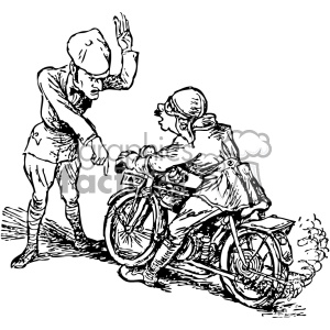 cartoon Stop that motorcycle vintage 1900 vector art GF clipart. Commercial use image # 402518