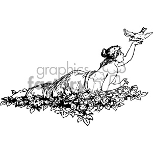 psyche reclining dove vintage 1900 vector art GF clipart. Royalty-free image # 402593