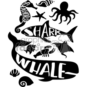 wall print kids decor sea life creatures whale shark lobster