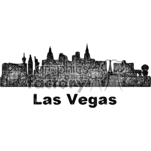 black and white city skyline vector clipart USA Las Vegas clipart. Commercial use image # 402698