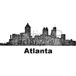 black and white city skyline vector clipart USA Atlanta clipart. Commercial use image # 402708