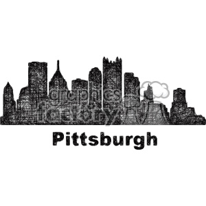 black and white city skyline vector clipart USA Pittsburgh clipart. Commercial use image # 402718