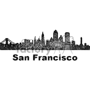 black and white city skyline vector clipart USA San Francisco clipart. Royalty-free image # 402728