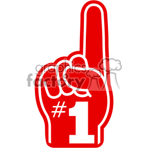 number one imprinted foam hand vector cut file white lines clipart. Commercial use image # 403060