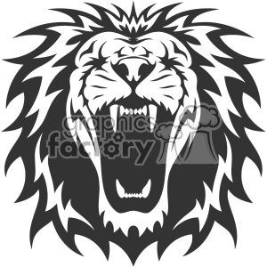 lion head roaring vector design