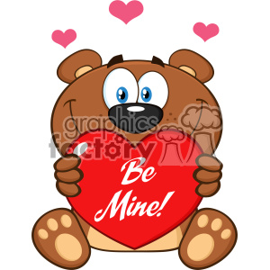 10679 Royalty Free RF Clipart Smiling Brown Teddy Bear Cartoon Mascot Character Holding A Valentine Love Heart With Text Be Me Vector Illustration clipart. Commercial use image # 403348