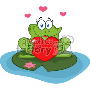 Cute Frog Female Cartoon Mascot Character In A Pond Holding A Valentine Love Heart Vector Illustration clipart. Commercial use image # 403358
