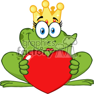 10661 Royalty Free RF Clipart Cute Princess Frog Cartoon Mascot Character With Crown Holding A Love Heart Vector Illustration clipart. Royalty-free image # 403363