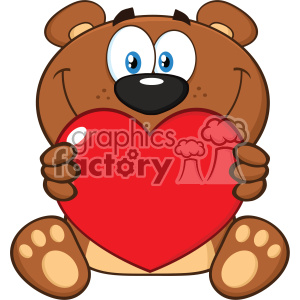 10678 Royalty Free RF Clipart Smiling Brown Teddy Bear Cartoon Mascot Character Holding A Valentine Love Heart Vector Illustration clipart. Commercial use image # 403373