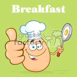 10967 Royalty Free RF Clipart Chef Egg Cartoon Mascot Character Showing Thumbs Up And Holding A Frying Pan With Food Vector With Green Halftone Background Breakfast