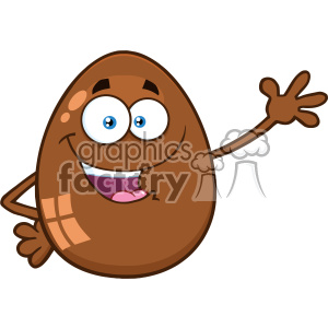 10984 Royalty Free RF Clipart Chocolate Egg Cartoon Mascot Character Waving For Greeting Vector Illustration clipart. Royalty-free image # 403393