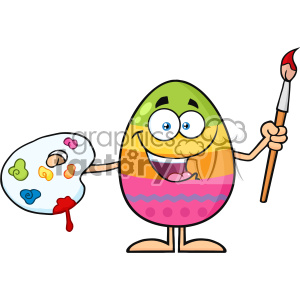 10949 Royalty Free RF Clipart Happy Colored Easter Egg Cartoon Mascot Character Holding A Paintbrush And Palette Vector Illustration clipart. Commercial use image # 403398