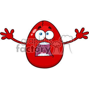 10980 Royalty Free RF Clipart Scared Cracked Red Egg Cartoon Mascot Character With Open Arms Vector Illustration