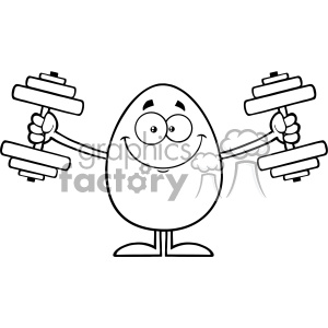 10933 Royalty Free RF Clipart Black And White Smiling Egg Cartoon Mascot Character Working Out With Dumbbells Vector Illustration