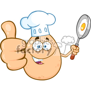 10965 Royalty Free RF Clipart Chef Egg Cartoon Mascot Character Showing Thumbs Up And Holding A Frying Pan With Food Vector Illustration clipart. Royalty-free image # 403433