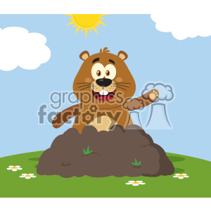10644 Royalty Free RF Clipart Happy Marmmot Cartoon Mascot Character Waving In Groundhog Day Vector Flat Design With Background
