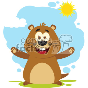 10630 Royalty Free RF Clipart Happy Marmot Cartoon Mascot Character With Open Arms Vector Flat Design With Background Isolated On White