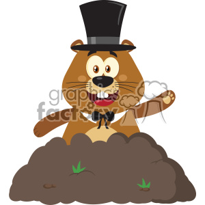 10646 Royalty Free RF Clipart Happy Marmmot Cartoon Mascot Character With Cylinder Hat Waving In Groundhog Day Vector Flat Design clipart. Royalty-free image # 403453