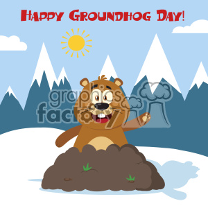 10643 Royalty Free RF Clipart Happy Marmmot Cartoon Mascot Character Waving In Groundhog Day Vector Flat Design With Background And Text Happy Groundhog Day