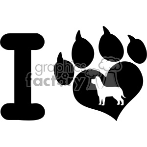 10711 Royalty Free RF Clipart I Love With Black Heart Paw Print With Claws And Dog Silhouette Logo Design Vector Illustration clipart. Royalty-free image # 403468