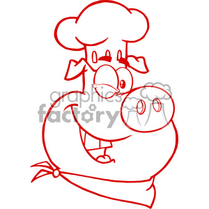 10728 Royalty Free RF Clipart Winking Chef Pig Cartoon Mascot Character In Red Color Vector Illustration clipart. Commercial use image # 403473