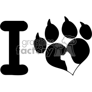 10712 Royalty Free RF Clipart I Love With Black Heart Paw Print With Claws And Dog Head Silhouette Logo Design Vector Illustration