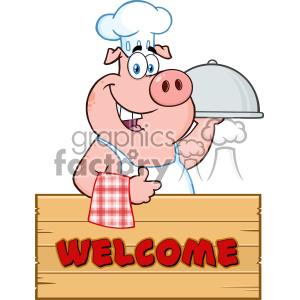 10718 Royalty Free RF Clipart Chef Pig Cartoon Mascot Character With A Cloche Platter Over A Wooden Sign Giving A Thumb Up Vector With Text Welcome clipart. Royalty-free image # 403488