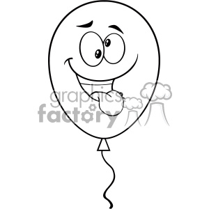 Clipart Crazy Black And White Balloon Cartoon Mascot Character Vector Illustration