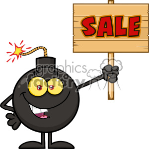 10805 Royalty Free RF Clipart Smiling Bomb Cartoon Mascot Character Holding A Wooden Sale Sign Vector Illustration