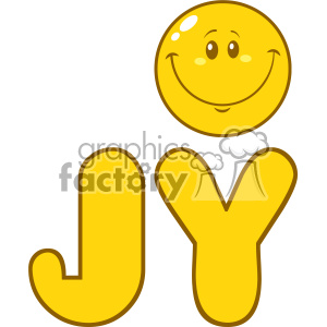 10848 Royalty Free RF Clipart Joy Yellow Logo With Smiley Face Cartoon Character Vector Illustration