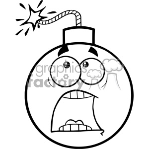 10821 Royalty Free RF Clipart Black And White Funny Bomb Face Cartoon Mascot Character With Expressions A Panic Vector Illustration
