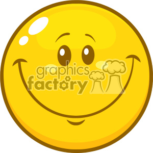 10839 Royalty Free RF Clipart Yellow Smiley Face Cartoon Character Vector Illustration
