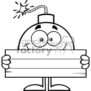 10786 Royalty Free RF Clipart Black And White Smiling Bomb Cartoon Mascot Character Holding Wooden Blank Sign Vector Illustration clipart. Commercial use image # 403548