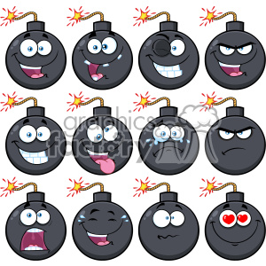 10836 Royalty Free RF Clipart Bomb Face Cartoon Mascot Character With Emoji Expressions Vector Illustration clipart. Commercial use image # 403558