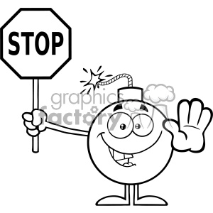 10782 Royalty Free RF Clipart Black And White Cute Bomb Cartoon Mascot Character Gesturing And Holding A Stop Sign Vector Illustration