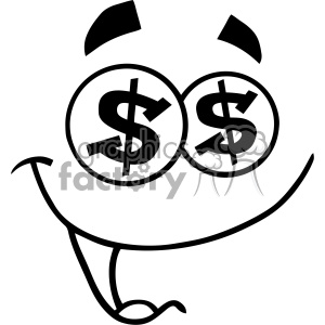 10908 Royalty Free RF Clipart Black And White Cartoon Funny Face With Dollar Eyes And Smiling Expression Vector Illustration