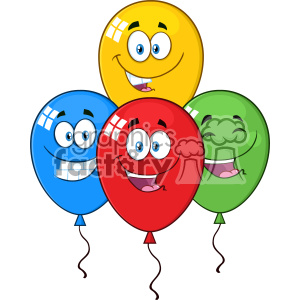 10774 Royalty Free RF Clipart Happy Four Colorful Balloons Cartoon Mascot Character With Expressions Vector Illustration clipart. Commercial use icon # 403583