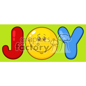 10843 Royalty Free RF Clipart Joy Logo With Smiley Face Cartoon Character Vector With Green Background