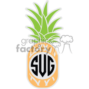 pineapple svg cut file vector monogram dxf